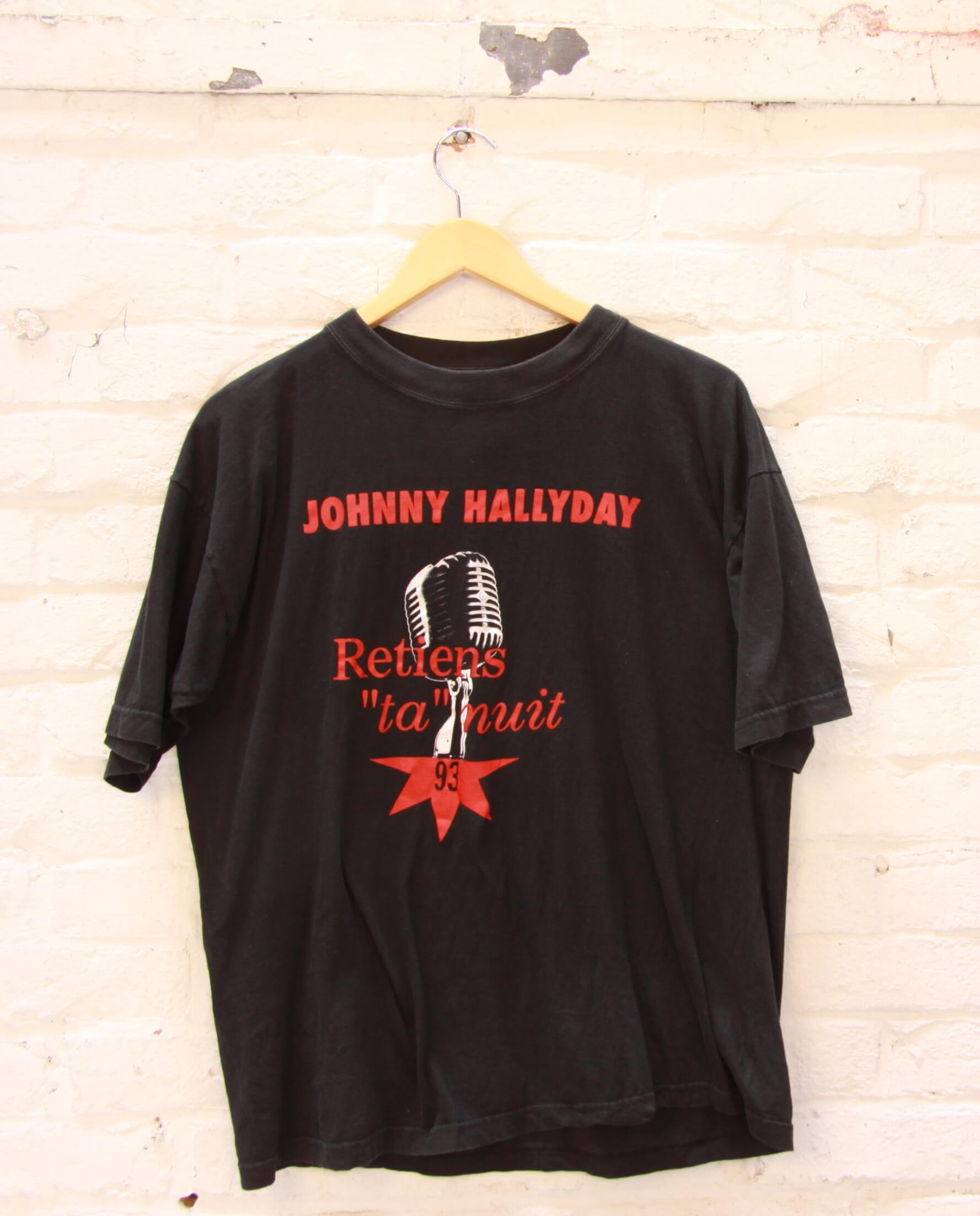 t shirt homme noir vintage johnny hallyday rock. Black Bedroom Furniture Sets. Home Design Ideas