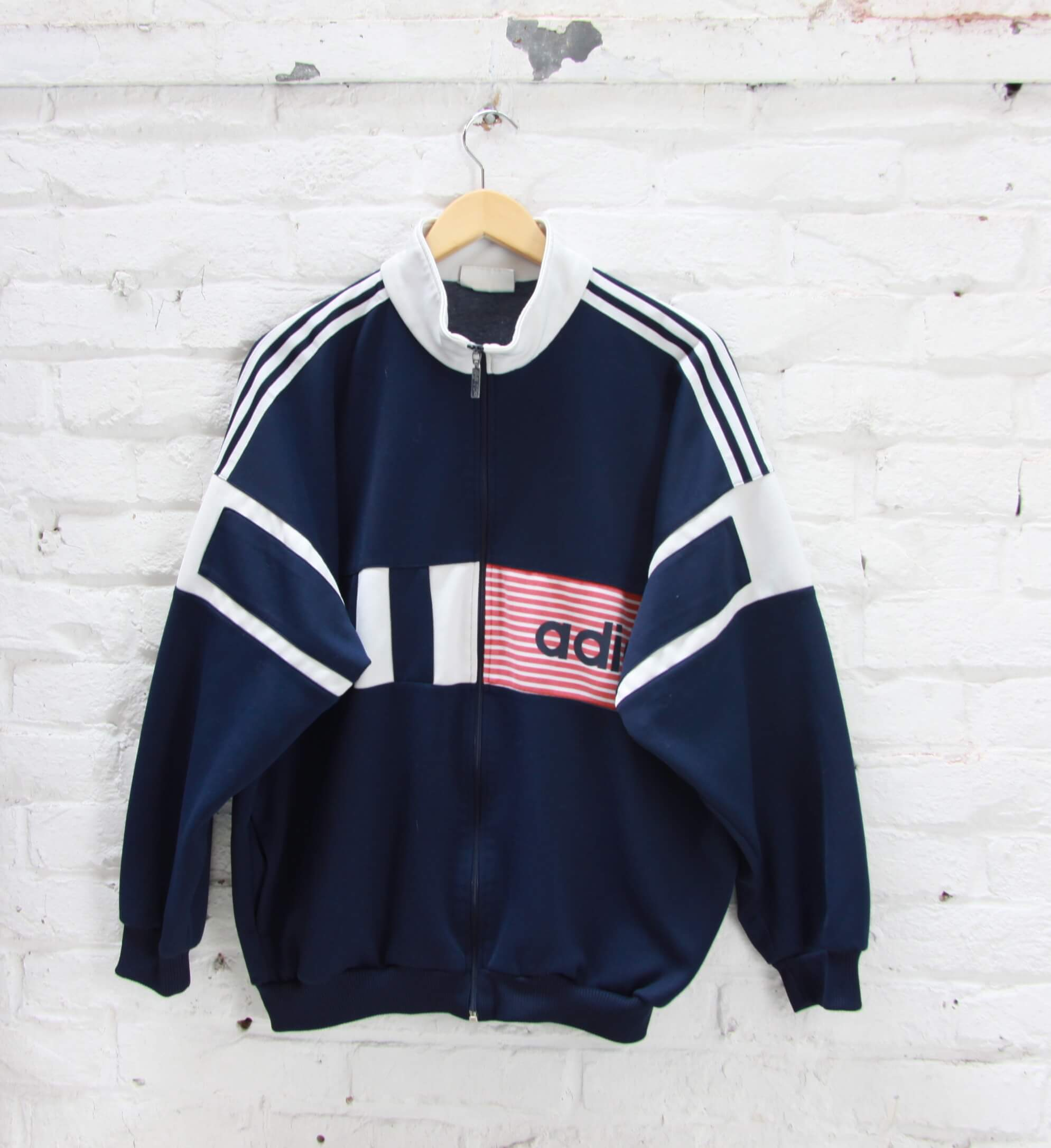 Veste de Jogging Adidas Vintage Bleu Marine Blanc