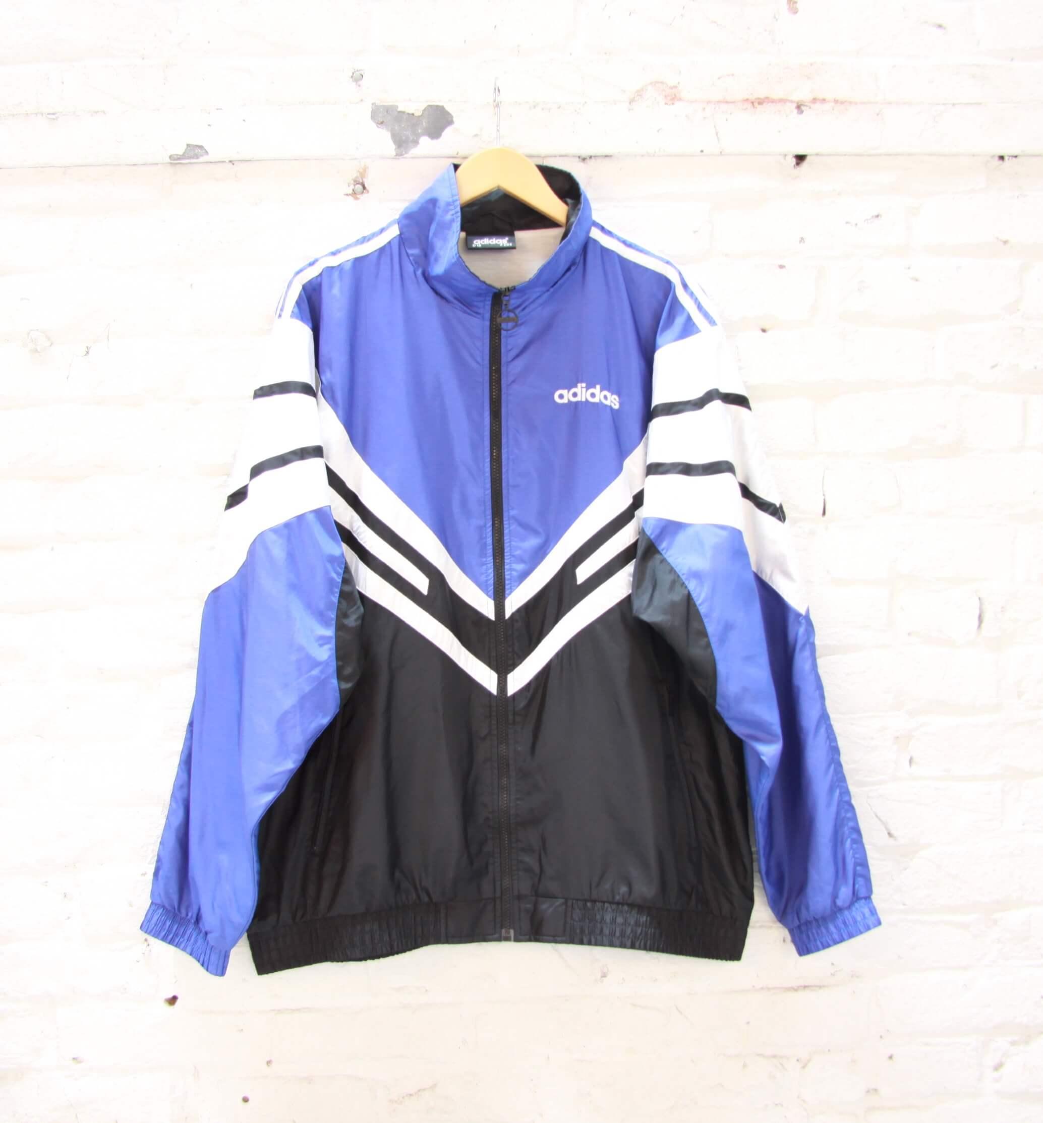 Veste de Jogging Adidas Vintage Bleu Blanc Noir