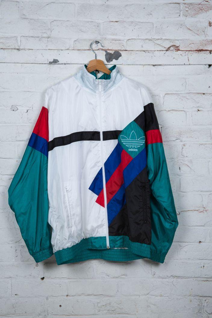 Veste De Jogging Adidas Vintage 90 S Blanc Noir